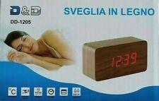 Sveglia Orologio Digitale Led Effetto Legno + Allarme + Temperatura + Vocale