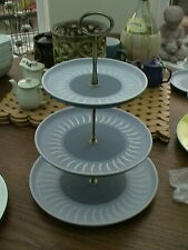CAKE STAND Denby ECHO Blue 3 Tiered Plate cupcake Vintage VGC