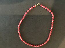 """Vintage Monet Red Beaded Necklace W/GoldTone Spacers 15"""""""