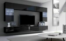 MODERN WALL UNIT LIVING ROOM SET WALL MOUNTED CABINET TV STAND + FREE LED LIGHTS