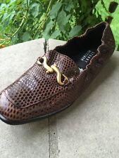 STUART WEITZMAN Slip On Loafers Gold Buckle Women Shoe Sz 8.5
