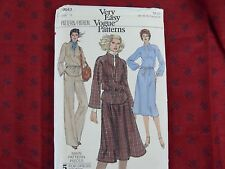 Vintage  VERY EASY Vogue 9943 top dress pants skirt Sewing Pattern Size 12