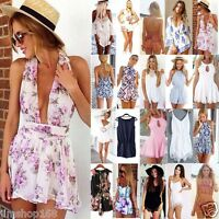 UK Womens Sexy Mini Playsuit Ladies Jumpsuit Summer Shorts Beach Sun Dress