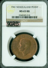 New listing 1941 New Zealand Penny Ngc Mac Ms-65 Rb 90Rd 90% Red Finest Graded Rare *