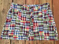 J Crew Madras Plaid Patchwork Cotton Skirt, Size 6, Button Down, Side Pockets