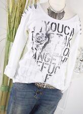 ITALY MODA Sweat Pull Zipper 3d print Pull Sweatshirt W 'EISS S M 36 38 Nouveau