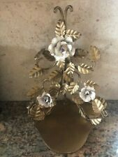 "Vintage Italian Florentine Wall Shelf Wall Gold Gilt Roses Ornate 12"" high"