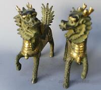 Handmade Craft Solid Copper Pixiu Mother /& Child Statues Unique Collection