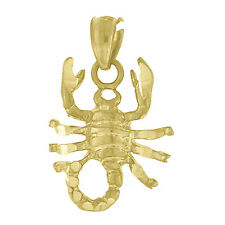10k Yellow Gold Scorpion Charm Pendant Zodiac Sign Diamond Cut