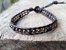 Smoky quartz bracelets,Stone bracelets,Lava bracelets,Leather bracelets,Men