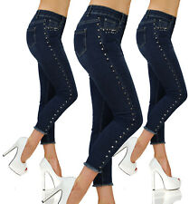 Sexy Stretchy Blue Jeans Trousers With Side Metal Studs Skinny Slim M 811