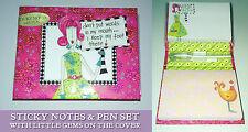 Dolly Mamas 150 Sticky Notes & Penna GRUPPO HARD BOX COVER Gemme circa A7 2 PASTIGLIE Regalo