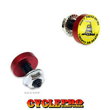 2 Vivid Red Billet License Plate Frame Tag Bolts - DON'T TREAD ON ME - 119
