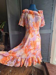 Vintage 1970s Silk Dress, Cottage Core  Fairy Core, Floral, pastels, Size 10-12