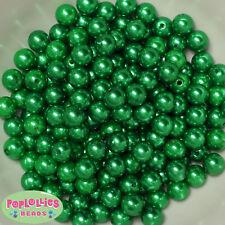 10mm Christmas Green Pearl Finish Acrylic Bubblegum Beads Lot 50 pc.Chunky