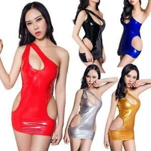 Wetlook Metallic One Shoulder Kleid Clubwear Mini Dress Party HOT Disco size M-L