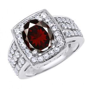 14K White Gold Over Oval Cut Garnet & Topaz Halo Engagement Ring For Womens