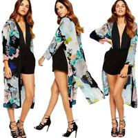 Women Boho Printed Chiffon Shawl Long Kimono Cardigan Tops Cover up Blouse