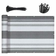 Balcony Deck Privacy Screen Fence Apartments 3'x10' Silver Gray White Stripes