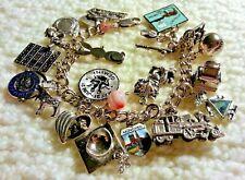 """Loaded 1960-70's Vintage Sterling Silver Charm Bracelet & 20 Charms, 54gr, 7.75"""""""