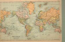 1908 MAP THE WORLD NORTH AMERICA EUROPE AUSTRALIA AFRICA INDIA CHINESE EMPIRE
