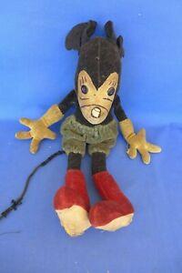 "Vintage 16"" Mickey Mouse Primitive Folk Art Handmade Doll Antique Disney 1930's?"