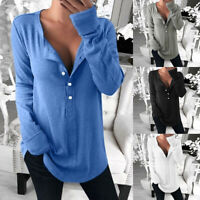 Womens Button Pullover Solid Long Sleeve V Neck Loose Casual T-shirts Tops Shirt