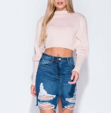 New Womens Mid Wash Distressed Ripped Denim Skirt Sizes 6 8 10 12 14 100% Cotton