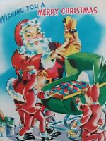 1950s Vtg SANTA w DOLL Pixie Elf Paint Baby Buggy Pop Up CHRISTMAS GREETING CARD