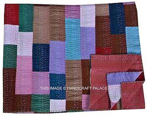 Indian Queen Bedspread Velvet Patchwork Kantha Quilt Home Decor Blanket Throw