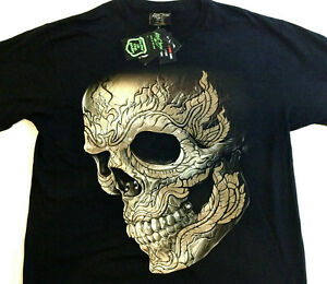 "Skull Gothic biker t-shirt studded LG 42""-44"" RCST 014"