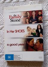 THE FAMILY STONE / IN HER SHOES / A GOOD YEAR (DVD, 3 DISC BOX ) R-4, LIKE NEW