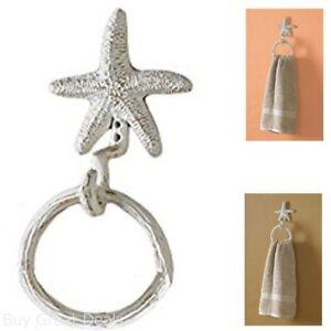 Starfish Ring Hook Towel Holder Tough Iron Beach Sea Themed Bathroom Decor