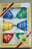 Box of 6 Vintage Christmas Ornaments - Satin Sheen Spun Thread Bell Shape