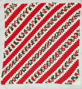 Homemade Crochet Christmas Colors Lap Throw Blanket Red White Green 42x44 inches