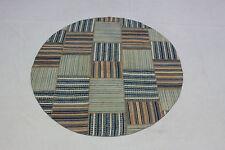 Design Tapis d'orient Vintage Patchwork Kelim rond 145 cm beige bleu 2493