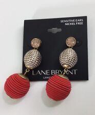 Lane Bryant Womens Double Ball Drop Earrings Fiery Coral jewelry