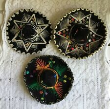 Three Small Colorful Sequined Mexican Sombreros