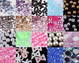 1000x Half Round Bead FlatBack Pearl Scrapbooking Embellishment Craft 5/6/7/8mm