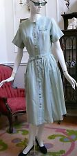 1950`s Sweet Cotton Striped  Afternoon or Day dress Blue & Green Striped Pockets