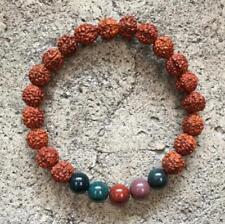 Natural stone vajra bodhi men Charm Bracelet Yoga Beads Mala Lotus Pendant