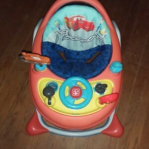 Adjustable Disney Cars walker with removable activity center