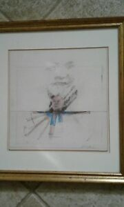 Awesome Mixed Media Drawing on board  John Barnes  Dobbs Faces 1976 signed