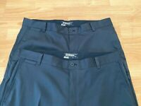 NIKE Golf Tour Performance Flat Front Pants Men's 34 x 30 Black Two Pair! EUC!