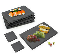 6piece Set Slate Food/Salad/Tapas/Snack/Cheese Boards Plate Dining FREE Coasters