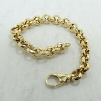 Gorgeous 14K Yellow Gold Faceted Rolo Link Chain Bracelet 7 Inch A8805