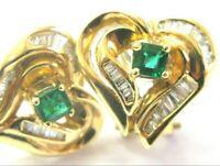 Green Emerald & Diamond Huggie Earrings 18Kt Yellow Gold .95Ct Heart Shape 15mm