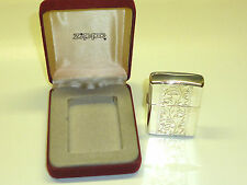 STERLING SILVER ZIPPO LIGHTER WITH NICE ENGRAVED CASE - 2004 - OVP - NICE- RARE