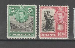 s38427 MALTA 1938 MLH* KGV 2 high values 5/ + 10/