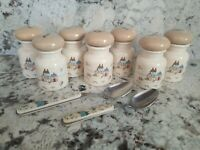 International Heartland China 7 Labeled Spice Jars plus 2 spoons
